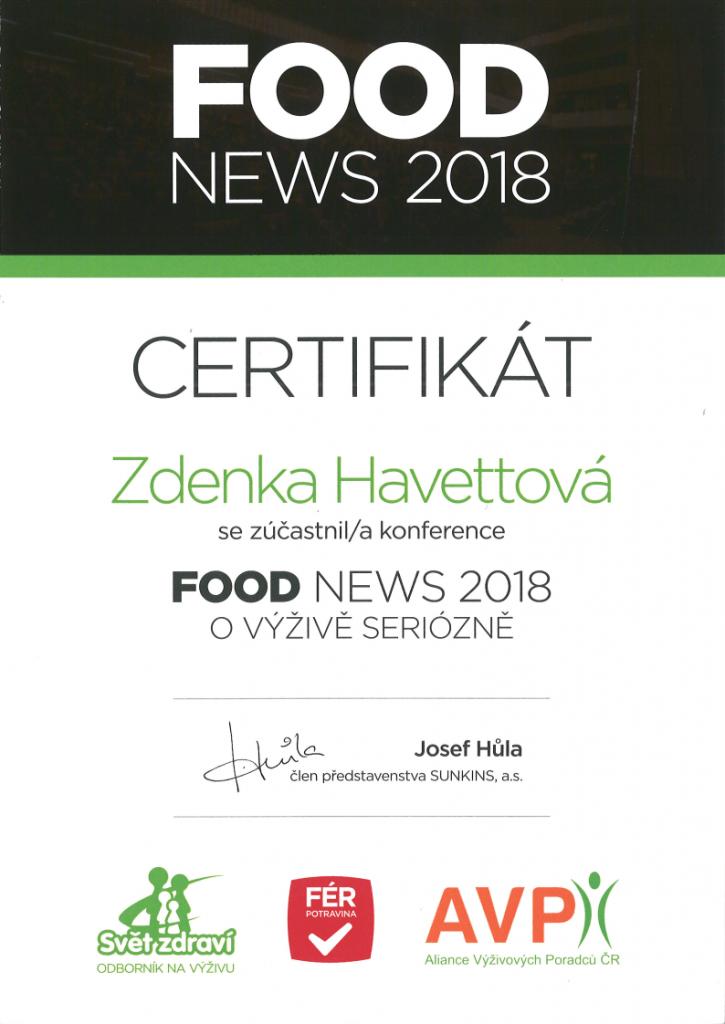 Certifikát - FOOD News Praha