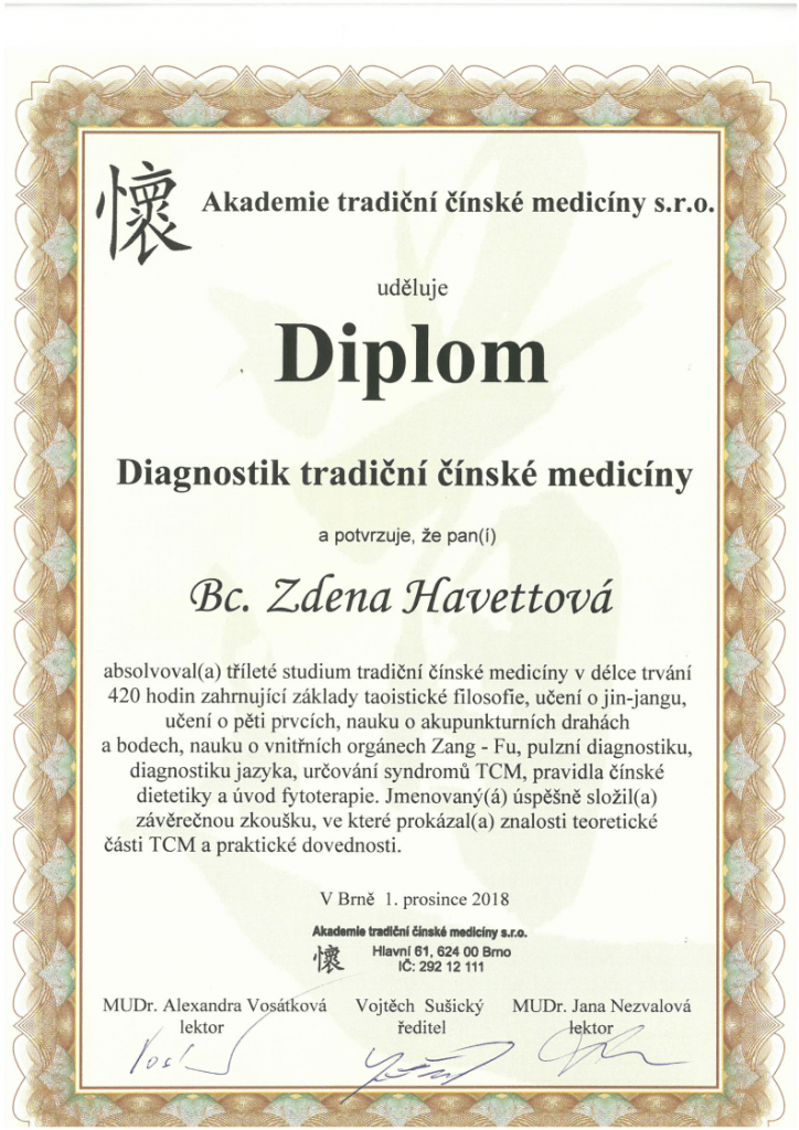 Diplom - Tradičná čínska medicína